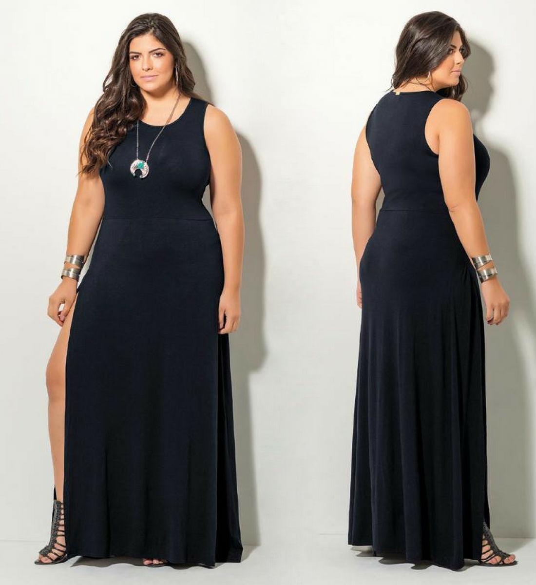 e9e237bf1 vestido de festa moda evangélica plus size longo preto lindo. Carregando  zoom.