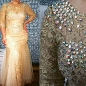 575f19c43 Vestido Festa Dourado Pedrarias - Vestidos De Festa Femininas no ...