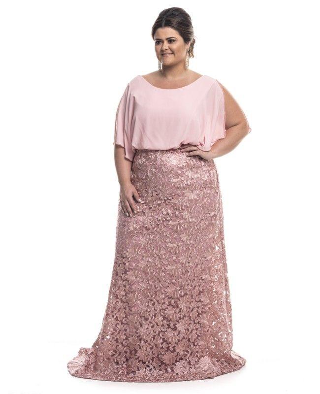 3ffe19d6f Vestido De Festa Plus Size Longo Blusê - R$ 699,00 em Mercado Livre