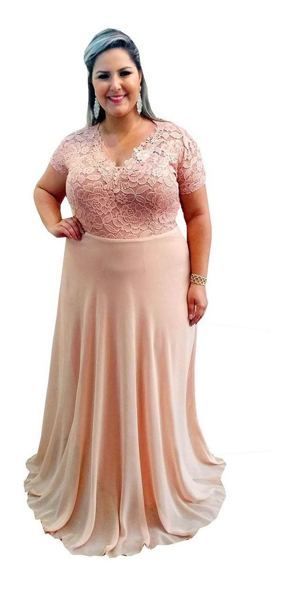 Vestido rosê plus size longo de festa madrinha de