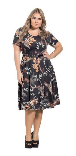 vestido de festa plus size preto estampado moda evangélica
