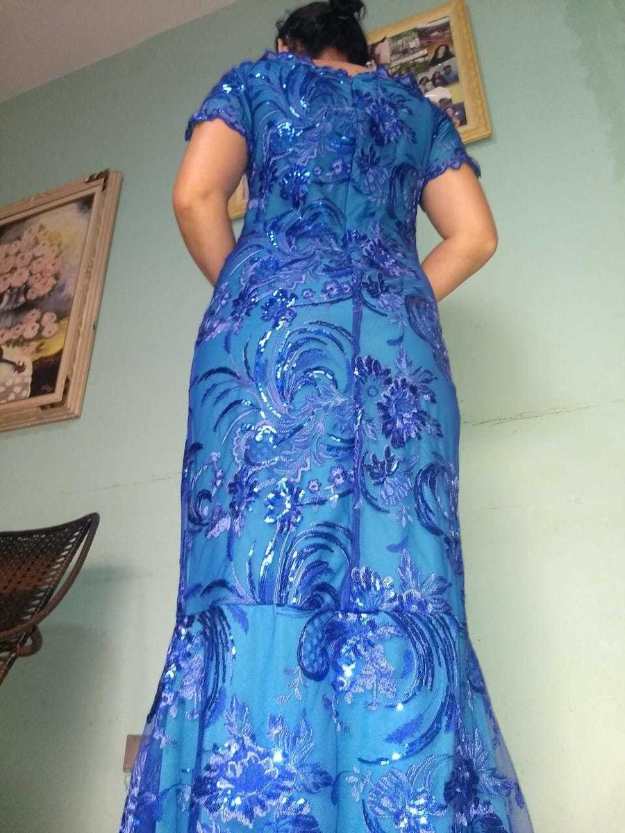 Vestido De Festa Plus Size Sereia Bordado Azul Royal Tiffany
