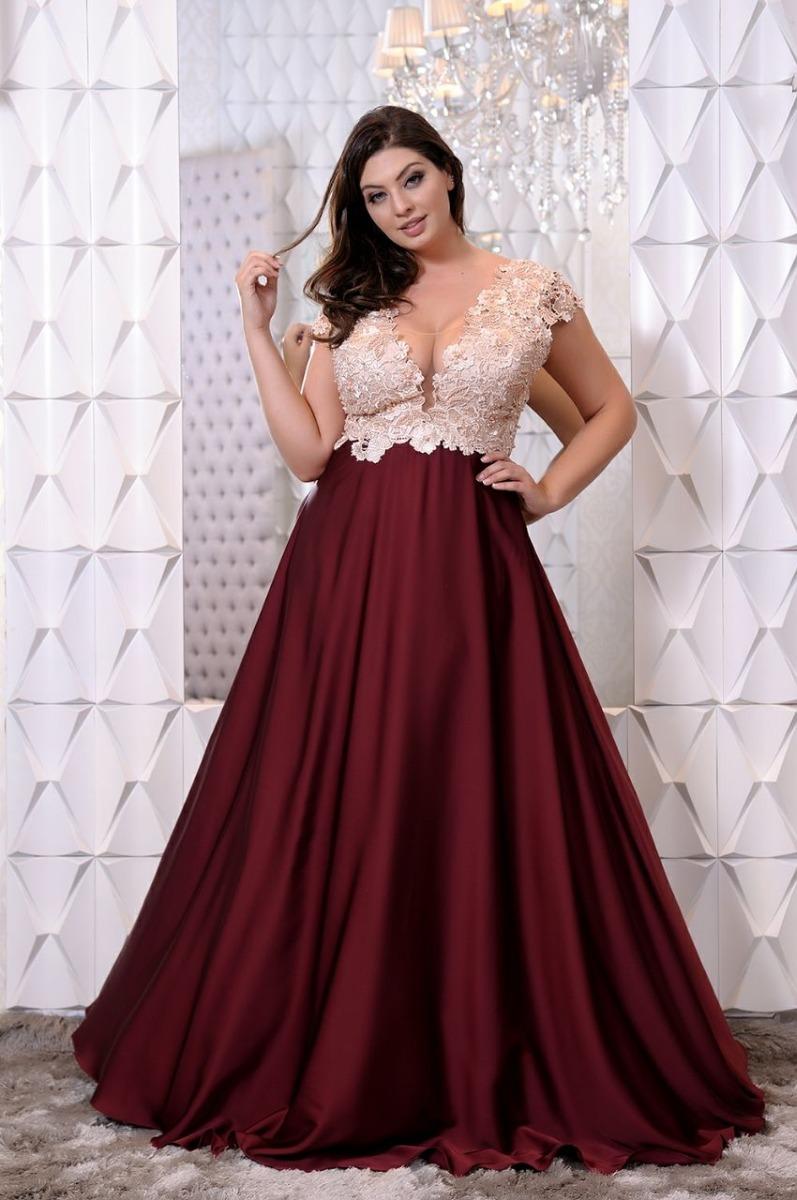 626228e8d495 Vestido De Festa Plus Size/marsala/casamento/madrinha - R$ 799,90 em ...
