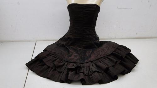 vestido de festa tomara que caia marrom c/ babado (500)