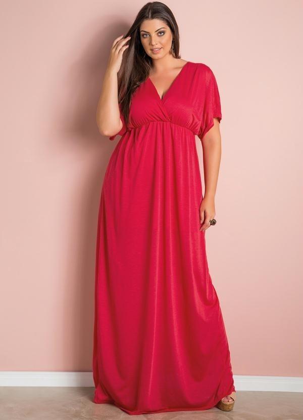 Vestido longo vermelho barato