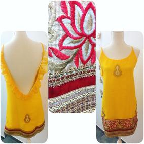 b0d7ecfa0 Vestido De Fiesta Amarillo De Saree Bordado