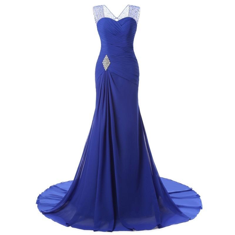 Vestido De Fiesta Azul, Corte Sirena Con Cola Larga - $ 6.000,00 en ...