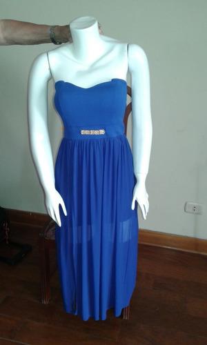vestido de fiesta azul largo