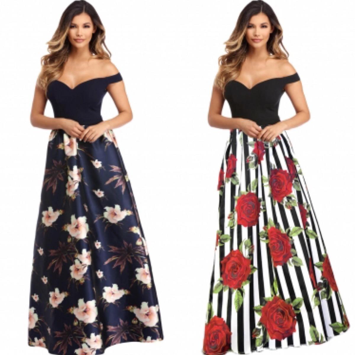 Vestidos de fiesta con flores en el hombro