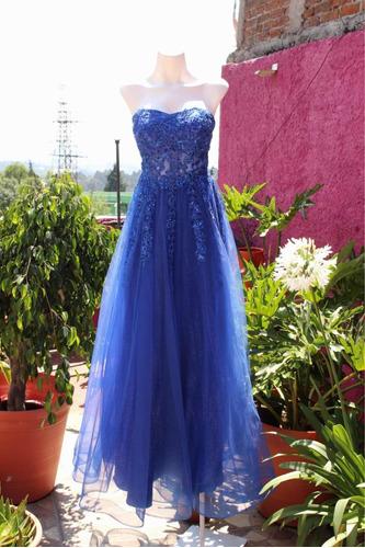 vestido de fiesta azul rey modelo 19237