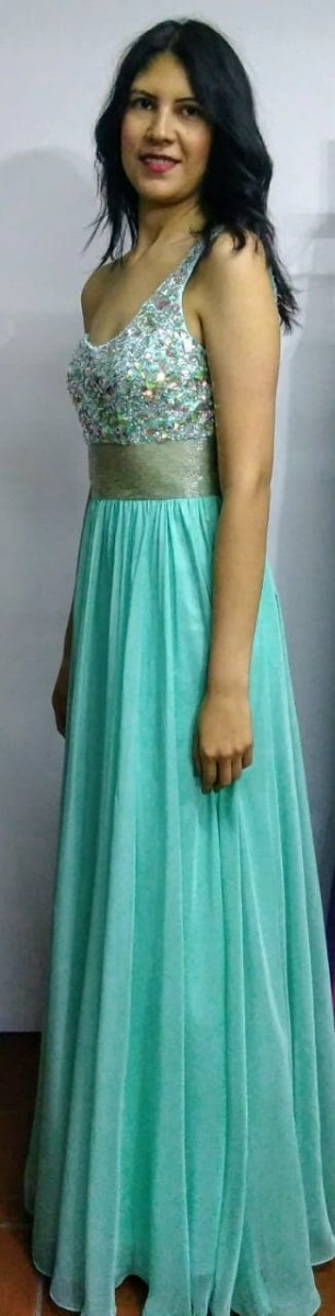 2220b972b vestido de fiesta azul turquesa con pedrería. Cargando zoom.