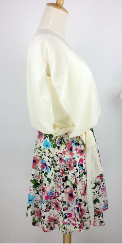 vestido de fiesta blanco floral tallas xs y s nuevo stock