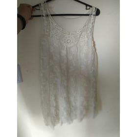 Vestido De Fiesta Blanco Transparente Con Flores Talle M