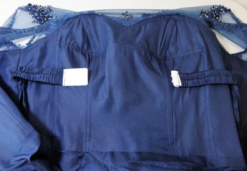 vestido de fiesta bordado color azul marino.envio gratis