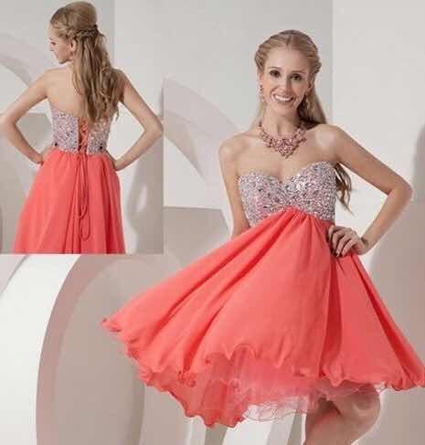 Vestido fiesta color coral