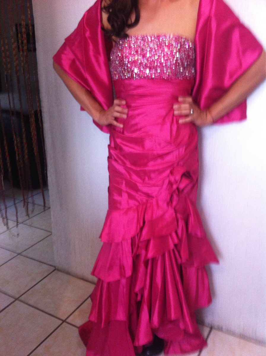 Vestido De Fiesta Color Fucsia Talla 12-13 - $ 800.00 en Mercado Libre