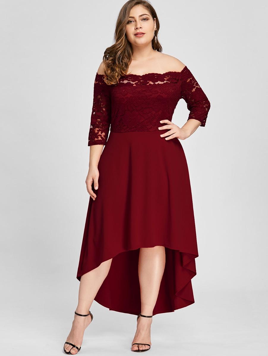 3ac2ea33b vestido de fiesta con encaje hombro descubierto para mujer. Cargando zoom.