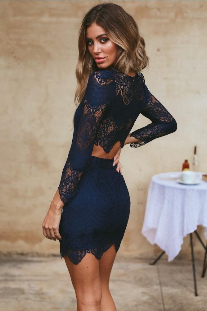 eb86ff0b3 vestido de fiesta corto azul marino con encaje. Cargando zoom.