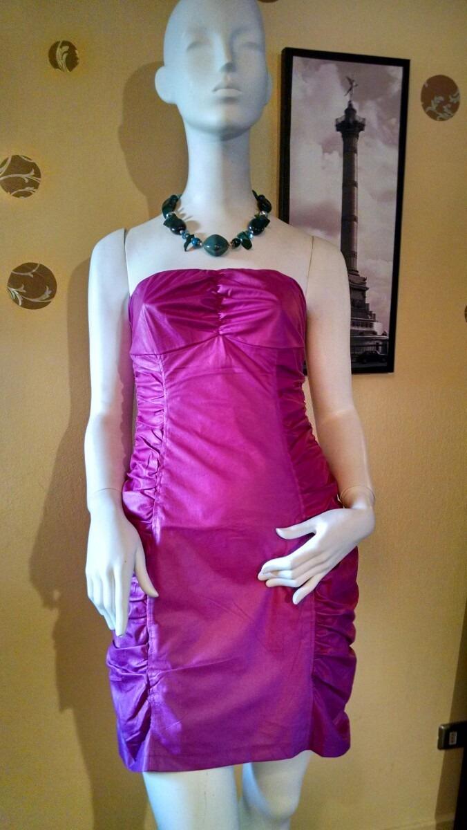 Vestido De Fiesta Corto Strapless Simil Cuero Fucsia Xs - $ 9.990 en ...