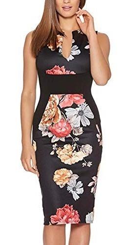 vestido de fiesta de coctel estampado floral cuello de pico