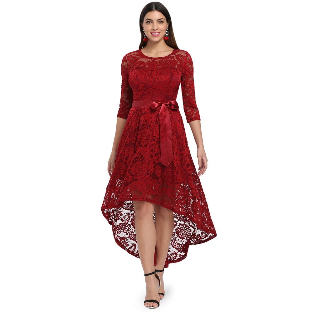 82c0c1e40 vestido de fiesta de encaje floral de manga larga para mujer. Cargando zoom.
