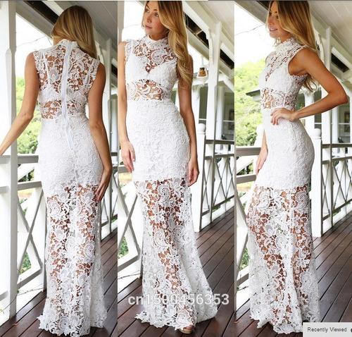 vestido de fiesta de encaje importado recto
