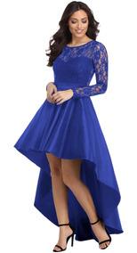 Vestido De Fiesta De La Manga Azul Rey Largo Satinado
