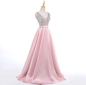 Vestido De Fiesta De Noche Elegante Con Pedrería Y Satín