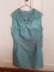 Vestido De Fiesta De Pura Seda Natural Color Turquesa