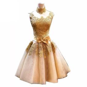 194e11ee7377 Vestido De Fiesta Dorado Envío Gratis C-18041101