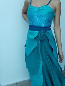 Vestido De Fiesta Elegante Azul Turquesa Largo De Moda