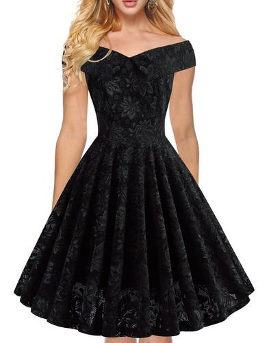 vestido de fiesta elegante de lujo encajes negro ym08