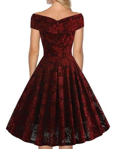 vestido de fiesta elegante de lujo encajes rojo ym08