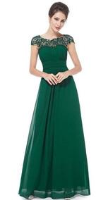 Vestido De Fiesta Elegante Largo Encaje Gasa Costura Verde