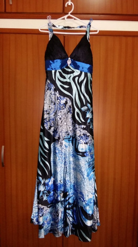 vestido de fiesta elegante y de floreado azul - everpretty