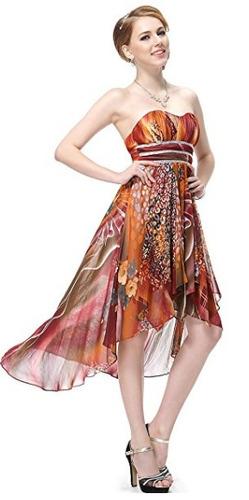 vestido de fiesta en gasa corto y largo