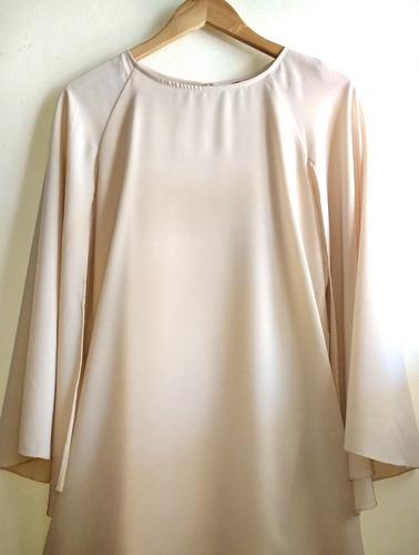 vestido de fiesta, en gasa doble, con capa, talle s