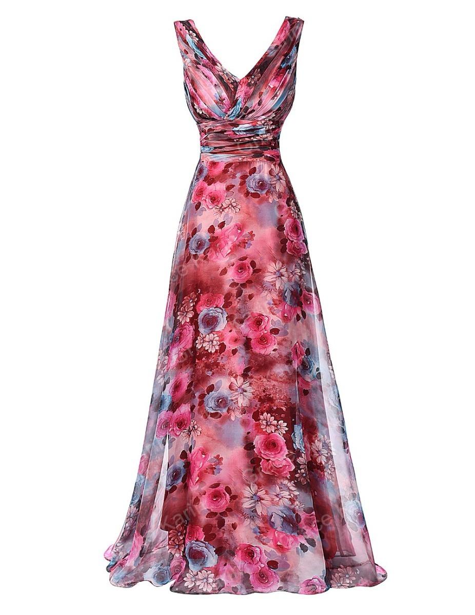 1c3e80ee345 vestido de fiesta estampado largo sin manga. Cargando zoom.