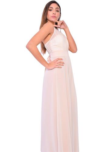vestido de fiesta, gasa con falda de raso brishka v-0029