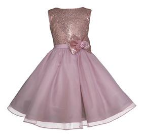Vestido De Fiesta Gerat Elegante Lentejuelas Para Niñas
