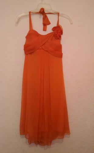 vestido de fiesta graduación color naranja talla 7 seminuevo