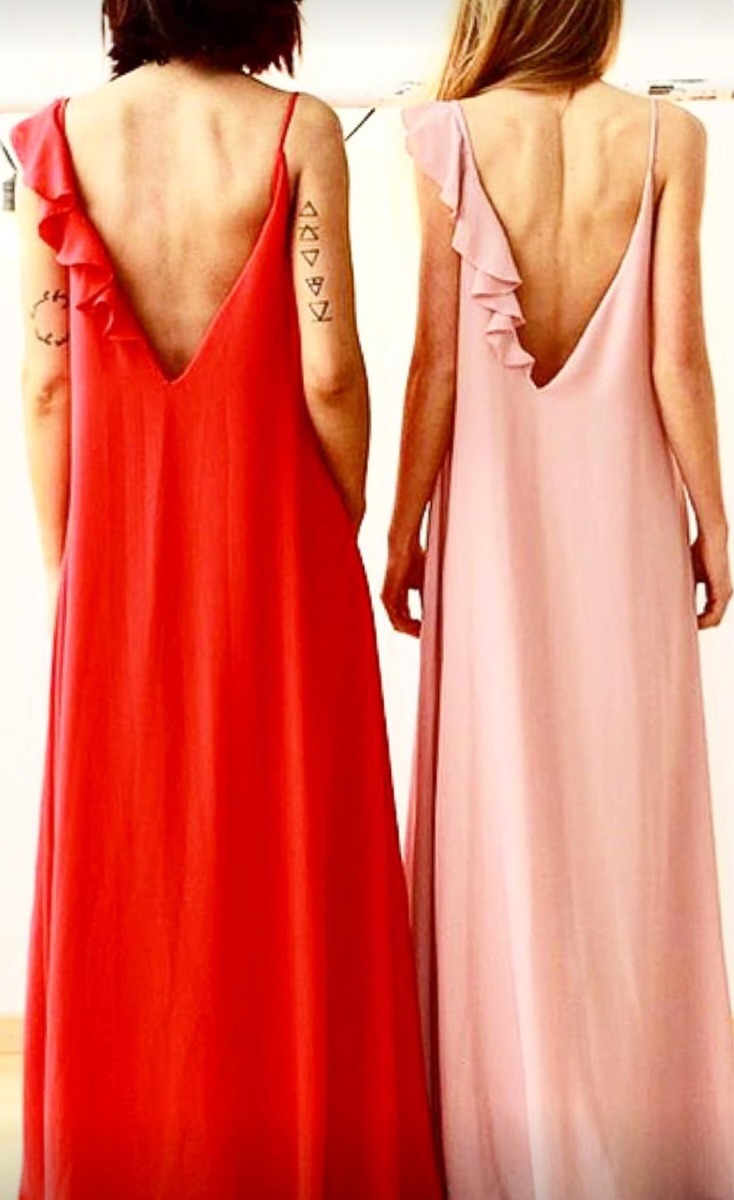 4 vestido de fiesta largo c/ volados para casamiento noche/dia. Cargando zoom.