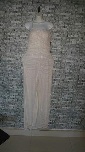 vestido de fiesta largo en lentejuela blanco. talla 8