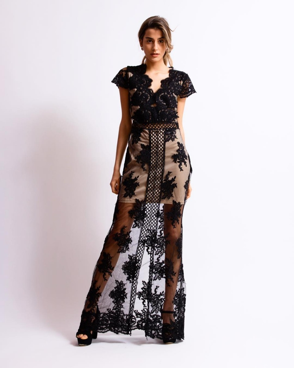 b98447ed0 vestido de fiesta largo mujer elegante noche encaje bordado. Cargando zoom.