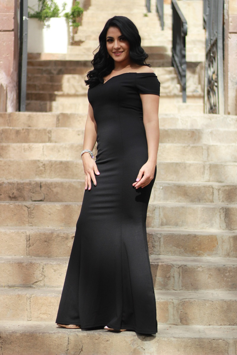 eee140c5702a Vestido De Fiesta Largo Negro De Noche Sexys Para Mujer