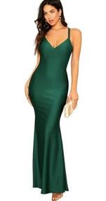 Vestido De Fiesta Largo Sexy Corte Sirena Verde Esmeralda