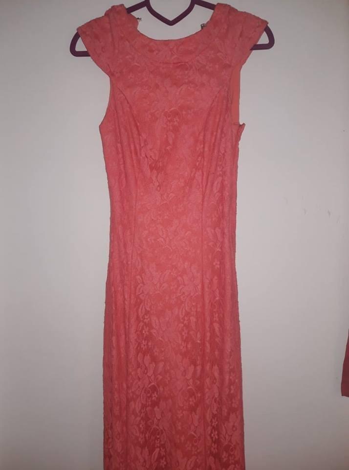 Vestido De Fiesta Largo Soya Usado De Encaje Color Salmon - $ 1.600 ...