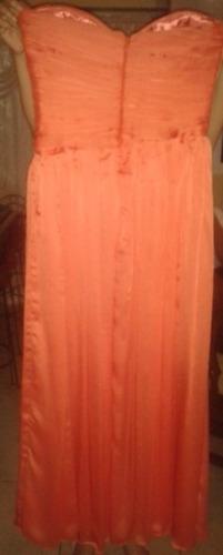 vestido de fiesta largo tipo estraple