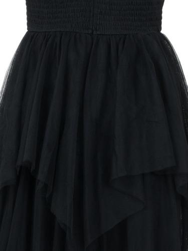 vestido de fiesta largo, transparencia escote, tul, elegante