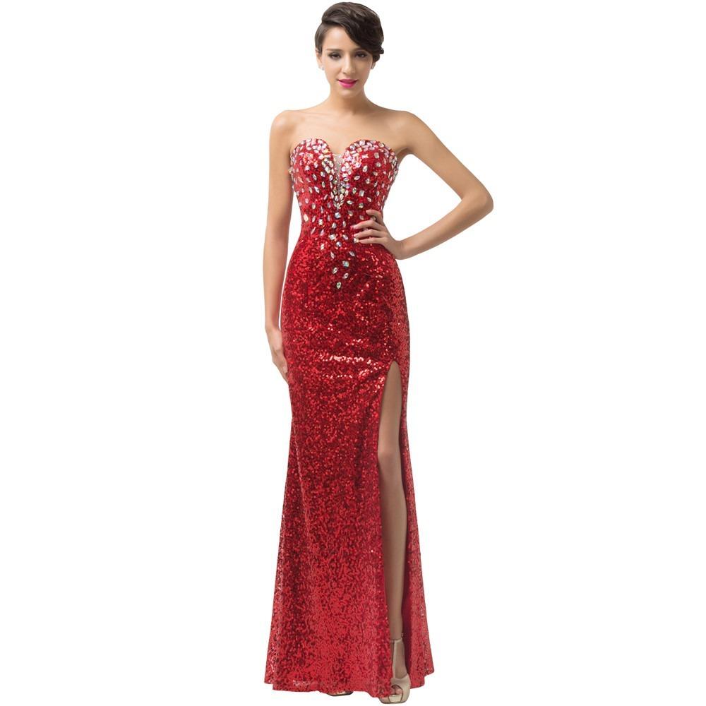disfruta del precio de descuento precios grandiosos calidad estable Vestido De Fiesta Lentejuela Pierna Descubierta